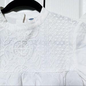 White Embroidered Eyelet Summer Blouse